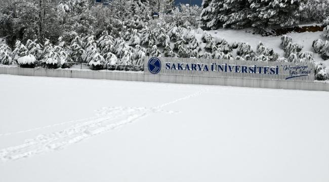 SAÜ'de Kar Yağışı Sonrası Tablo Gibi Görüntüler